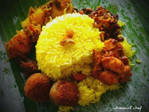 Rice and curry with cutlets